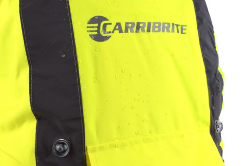 High visibility, heavy duty, tear resistant waterproof material and seams